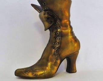 Vintage Brass Antique Boot Heel Shoe Flower Vase