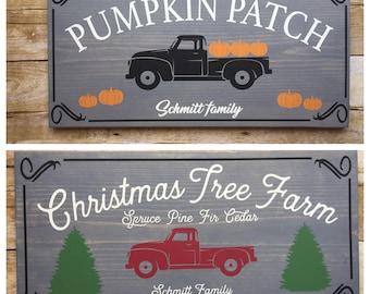 Double Sided Autumn Christmas Fall decor sign, Pumpkin Patch Sign, Christmas Tree Farm, Personalized Christmas Sign, Christmas Decor Wood