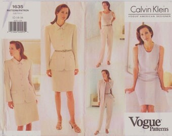 Uncut Vogue 1635 Sewing Pattern, Misses Jacket/Dress/Skirt, Calvin Klein, 12-14-16