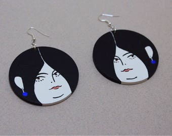 Hand painted wooden drop earrings - Dangling Ladies - Ava