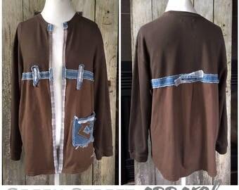 Funky Brown Cardigan   Cotton Cardigan   Denim Sweater   Artsy Sweater    Boho Sweater   Upcycled Sweater   Fun Sweater   Brown Sweater