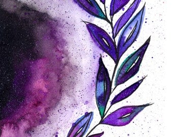 Watercolor Galaxy Leaves