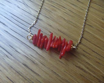 Red coral beads necklace