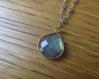 40 cm and 1.2 stone labradorite gemstone necklace cm