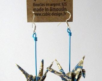 Grey blue origami crane earrings