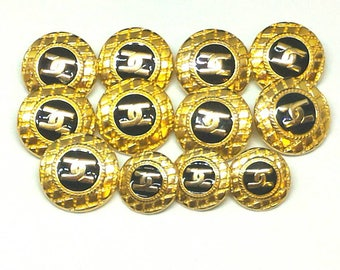 Blue and gold vintage chanel buttons