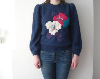 Vintage Escada blue mohair / wool sweater / by Escada from the 1980's / flower sweater