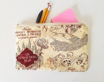 Harry potter pencil bag, Cosmetics bag, makeup bag, zippered bag, toiletries bag, travel bag, Marauder's Map fabric, Harry Potter bag
