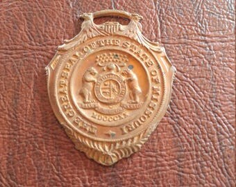 Rare Vintage State Seal of Missouri Watch Fob/Medal, 14K Gold Plate Over Bronze