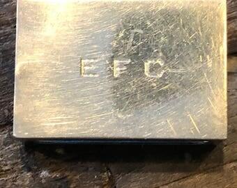 Vintage Gorham sterling silver matchbox cover with EFC monogram