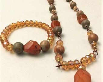 Carnelian Necklace and bracelet set, Anniversary set, crystal jewellery, jewellery set