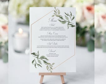 Greenery Wedding Menu, Printable Wedding Menu, Wedding Menu Template, Wedding Menu Signs, Wedding Menu Cards, Wedding Menu Printable, PDF