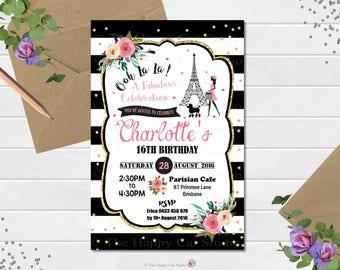 Paris Invitation - Paris Birthday Invitation - Teen - Poodle - Eiffel Tower - 16th - 18th - Girl Birthday Personalized Invite - Digital File