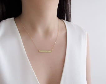 Name Necklace, bar necklace, personalized necklace, dainty gold or silver bar necklace, initial bar necklace
