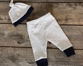 Navy hash mark pattern baby leggings; baby pants; take home outfit; baby shower gift set.