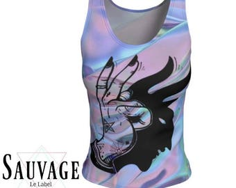 Peace - Athletic (like for yoga) (or not) Fitted tank top for the wild ones - Totally handmade in Montreal -XS to XL