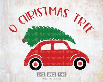 O Christmas Tree with Old Fashion Car  - Cut File/Vector, Silhouette, Cricut, SVG, PNG, JPEG, Clip Art, Download, Evergreen, Holidays, Carol