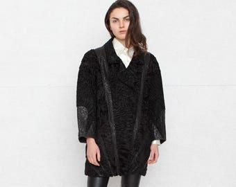 Vintage Black Fur Leather Coat/ Size XL