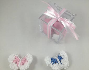 Set of 10 favor crochet Butterfly baptism birth