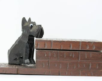 Vintage Folk Art Cigarette box, Carved Wooden Scotty dog as movable latch, PetesNeatOldStuff, Tobacciana collectible, carved dog wooden box