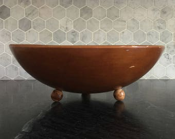 Mid Century Modern Bowl Wooden Bowl Footed Bowl Fruit Bowl Retro Serving Bowls Rustic Farmhouse Decor Country Decor