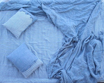 Set of Linen Bedding-4 pieces/Flat sheet/Fitted sheet /2 linen pillow cases -Bedroom linen-Blue stripes linen bed