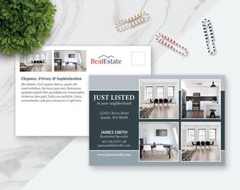6 x 4 Real Estate Postcard Template, Marketing Template, Pages, PowerPoint, Publisher, InDesign, 6.25 x 4.25 (with bleed) Download No.2