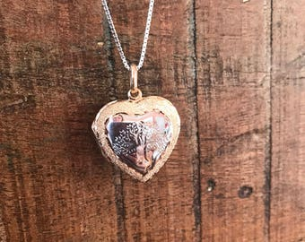 Gold plated sterling silver locked heart pendant