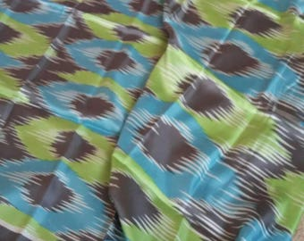 Abstract  vintage silk scarf in grey, turquoise & green by Fraas. ..superb condition.