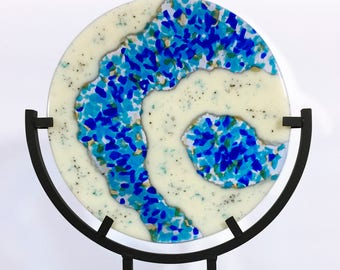 Plate - Fused Glass - 'BlueFlow Plate'