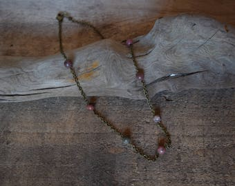 Summer sunset. Rhodonite necklace. Nature inspired jewelry. Nickel free.