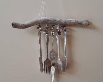 Driftwood Wind Chimes, Silverware and Beads Wind Chimes, Botswana Agate Beaded Wind Chimes,