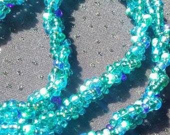 Green & Blue Glass Beaded Multi-Strand Necklace