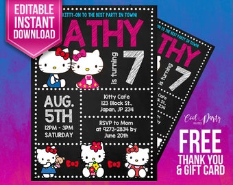Hello Kitty invitation, Hello Kitty birthday invitation, Hello Kitty invitations,Hello Kitty birthday,Hello Kitty birthday party,Hello Kitty