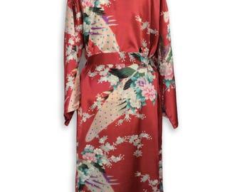 Red Floral Kimono Robe, Handmade Womens Robes, Floral Bride Robe, Bath Robe Womens robe
