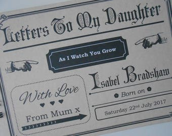 Letters To My Daughter / Son / Personalised Baby Gift / Baby Memory Book / Daughter Book / Baby Keepsake / Baby Journal / Baby Shower Gift