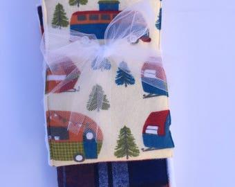 Camper Flannel Burp Cloth Set