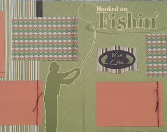 Pre-made Scrapbook Layout - Hooked on Fishing