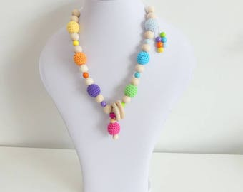 Still wearing chain crochet beads multi colored