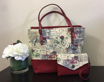 Handmade Tote Bag Set, Shoulder Bag, and Small Card Purse, Change Purse