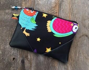 Fall zipper pouch/change purse/Owl wallet/mini wallet/small zipper pouch/handmade wallet/women's wallet