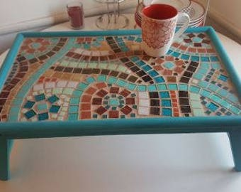Mosaic Tile Bed Tray (Breakfast in bed tray, computer tray, lap tray)