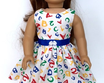 18 Inch Doll Clothes First Day of School Dress With ABC and Numbers Optional Red Maryjanes With Bows  Fits Like American Girl Doll Clothes