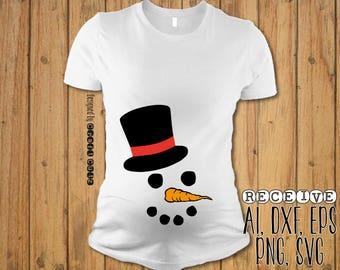 Snowman SVG  - Maternity Shirt - Baby Bump Christmas Shirt - Snowman Onesie - Vector Files - Silhouette Cut Files - Cricut Cut Files - SVG