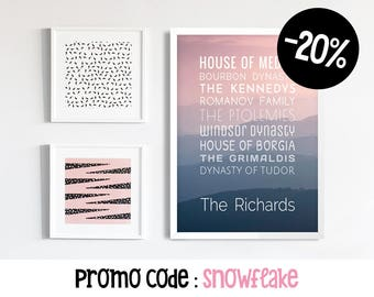 Customizable Poster, Last Name Wall Art, Custom Names, Family Portrait Custom, 50 x 70 poster, Typographic Print, Digital PDF Download