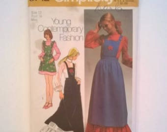 Vintage 1970s Simplicity Pattern 9712 - Maxi or Mini Dress or Jumper - Size 12, Bust 34 - Uncut Sewing Pattern