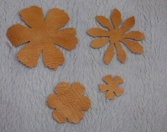 SET OF 4 COLOR GENUINE LEATHER FLOWERS RED.