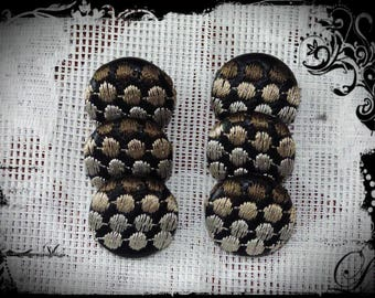 6 buttons embroidered RECOUVERTS of a faux leather color Brown 22 mm.