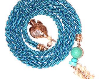long beaded necklace tassel necklace beads Elegant beaded necklace crochet beading Jewelry Handmade Modern Czech beads cotton thread