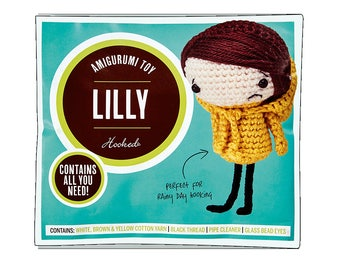 Lilly Amigurumi Kit, Crochet Doll, Crochet Kit, Amigurumi Doll, Sad Doll, Craft Kit, Crochet Tutorial, Crochet Pattern, Limited Edition,